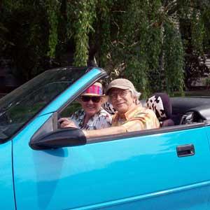 in-blue-car