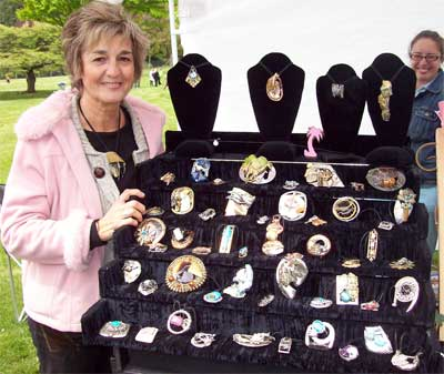 Joyce with her creations