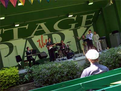 Paul Wainright and the band on Stage in the park
