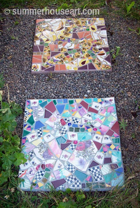 Pique Assiette Stepping Stones, summerhouseart.com
