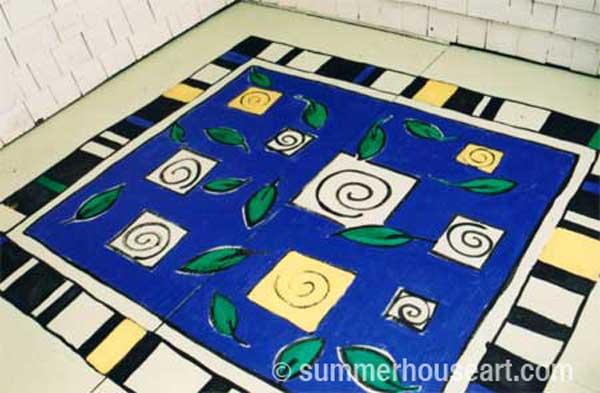 How to paint a rug on Deck floor tutorial, Helen Bushell, summerhouseart.com