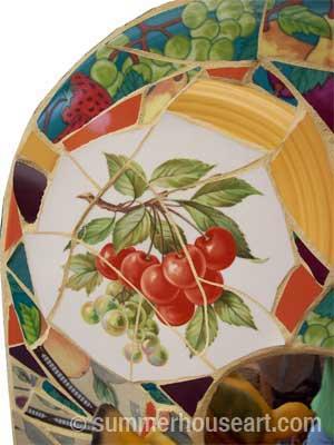 Bird and Fruits mosaic, Helen Bushell, summerhouseart.com