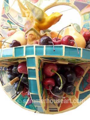 detail, Bird and Fruits mosaic, Helen Bushell, summerhouseart.com