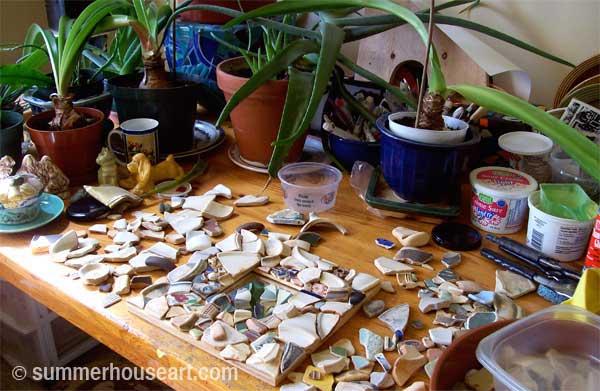 in progress, Pattern Beach Pottery mosaic Helen Bushell, summerhouseart.com