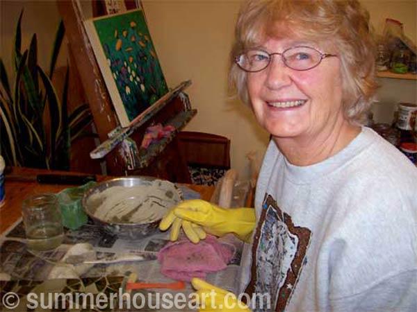 Student Anne Summerhouse Art mosaic class
