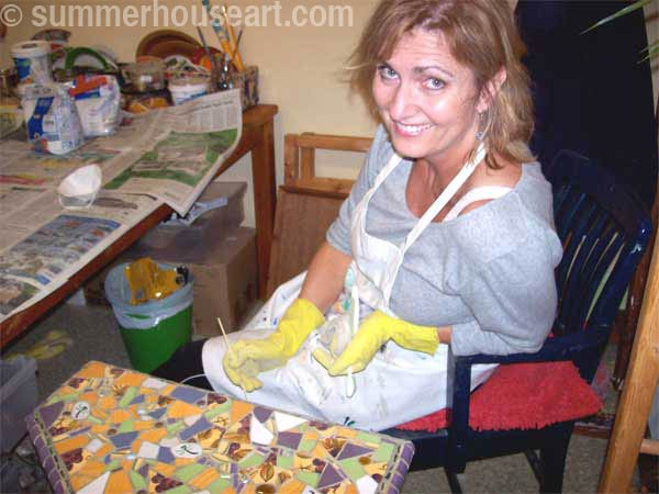 Student Nancy, Summerhouse Art mosaic class