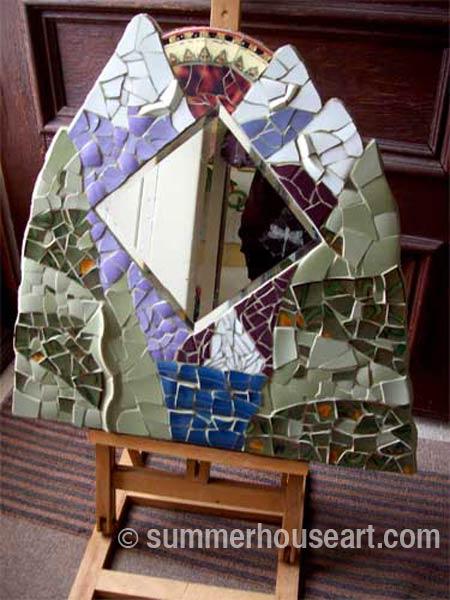 Student Ann's mirror Summerhouse Art mosaic class