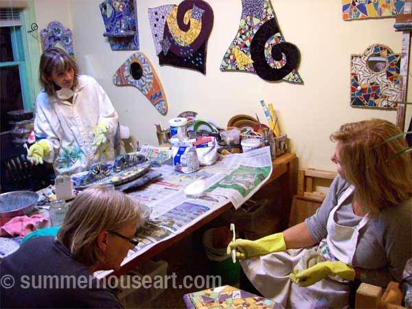 Studio mosaic class, Summerhouse Art class