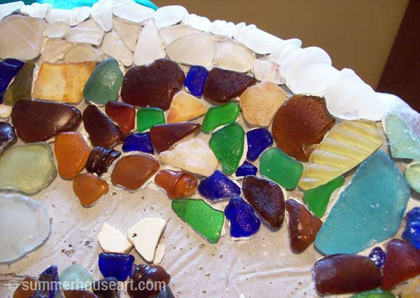 process, Beach Pottery and Beach Glass birdbath by Helen and Will Bushell summerhouseart.com