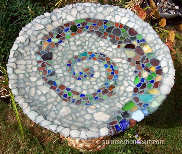 Beach Pottery and Beach Glass birdbath by Helen and Will Bushell summerhouseart.com