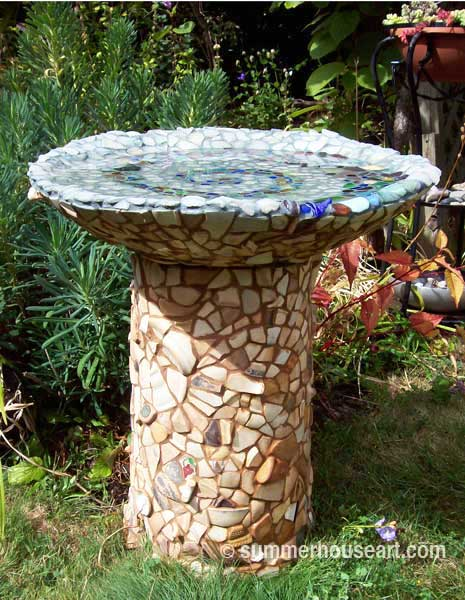 Beach Glass and Beach Pottery Bird Bath by Helen and Will Bushell, summerhouseart.com