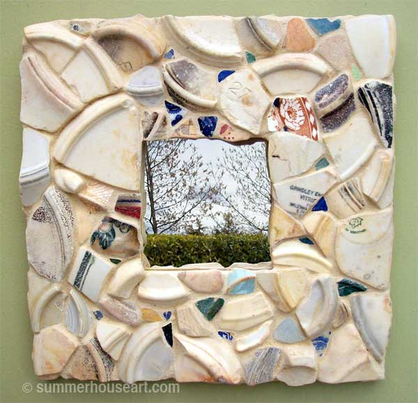 Beach Pottery Mosaic Mirror by Helen Bushell, summerhouseart.com