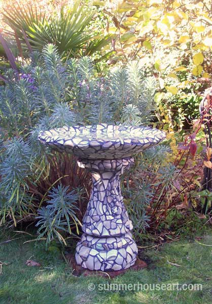 Beach Pottery Bird Bath Helen and Will Bushell summerhouseart.com