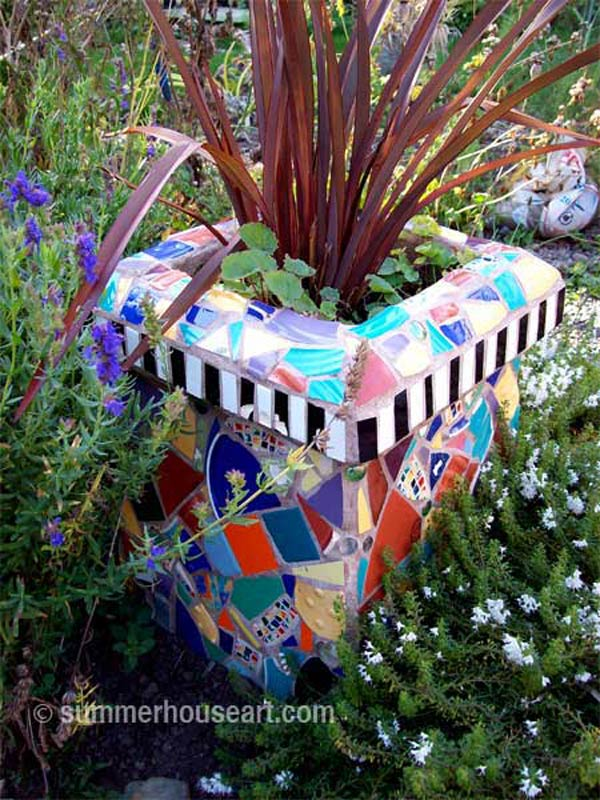 Mosaic Chimney by Helen and Will Bushell, summerhouseart.com