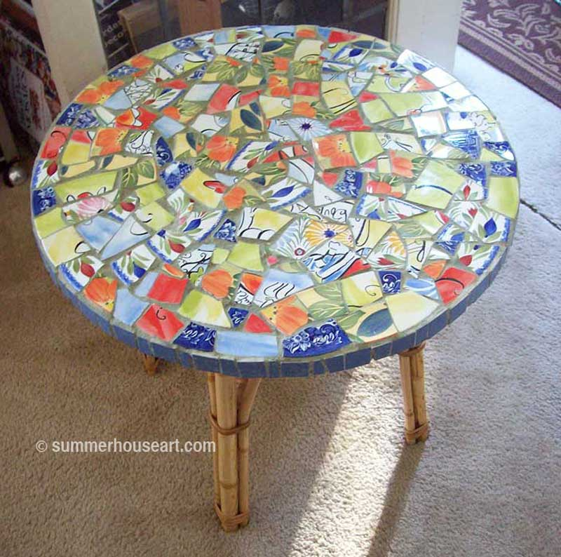 Shelley's Mosaic Table in Summerhouse Art Mosaic Classes