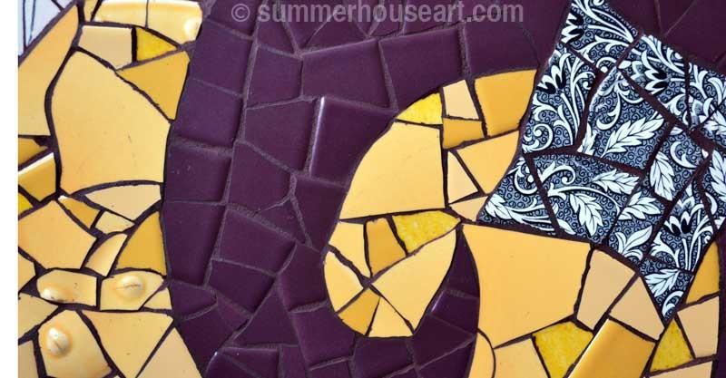 Purple Spiral Mosaic detail by Helen Bushell, summerhouseart.com
