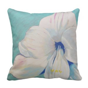 White amaryllis pillow, on Zazzle, summerhouse Art