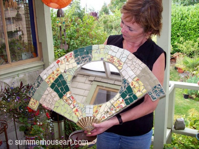 Student Judy with fan-mosaic made at Summerhouse Art mosaic classes