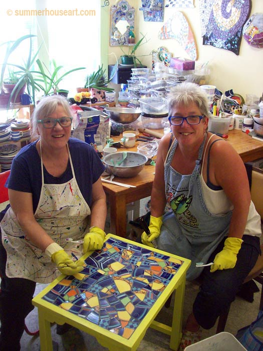 Student Bonnie with Helen Bushell, mosaic class at Summerhouse Art
