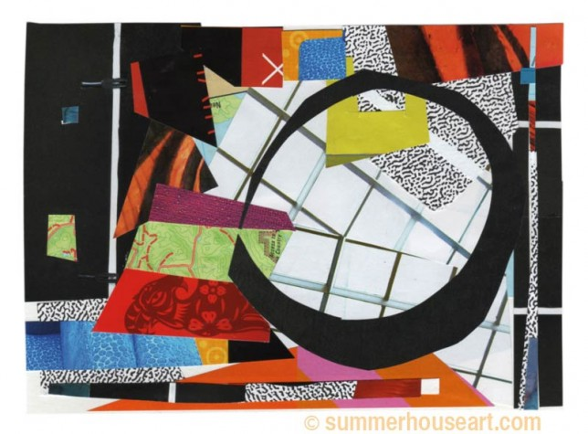 Grid with color, collage, by Helen Bushell, summerhouseart.com