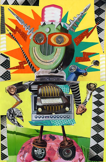 Radio robot poster on Red Bubble by Summerhouseart