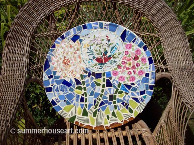 Student Jane's mosaic table top, summerhouseart.com