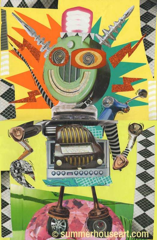 Radio Robot Collage by summerhouseart.com