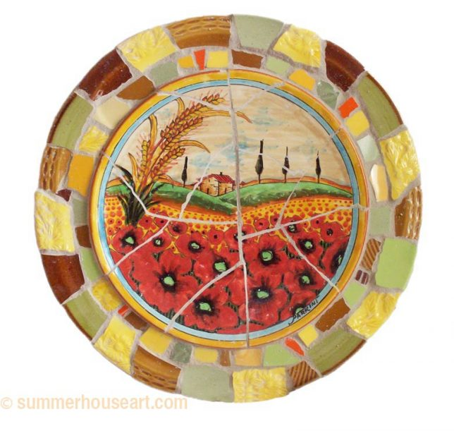 Student Gail's scenic plate with mosaic border, summerhouseart.com