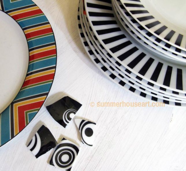 Choice of dishes for mosaic, summerhouseart.com