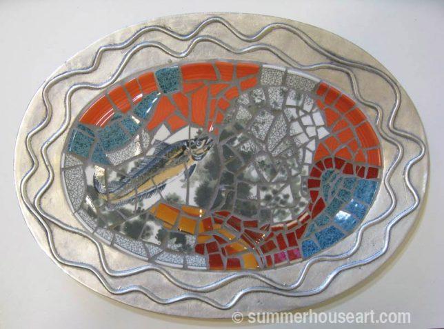 Mosaic Student Dianne's mosaic dish, summerhouseart.com
