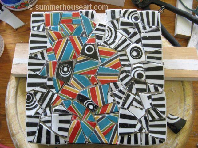 mosaic, pre grout, by Helen Bushell, summerhouseart.com