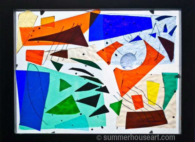 Blue and Orange stained glass abstract, Helen Bushell, summerhouseart.com