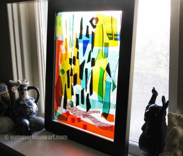 Stained glass composition in window, Helen Bushell, summerhouseart.com