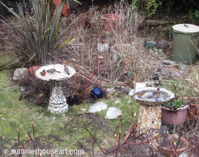 Two Mosaic Bird baths, summerhouseart.com