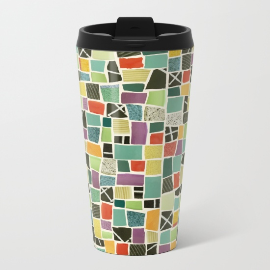 Square On-mosaic-metal-travel-mugs by Summerhouseart.com