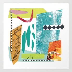 Collage by Helen Bushell, as print in Society 6 shop, summerhouseart