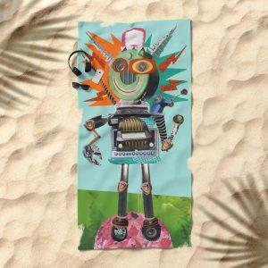 Radio Robot Beach towel, Society 6 shop, summerhouseart
