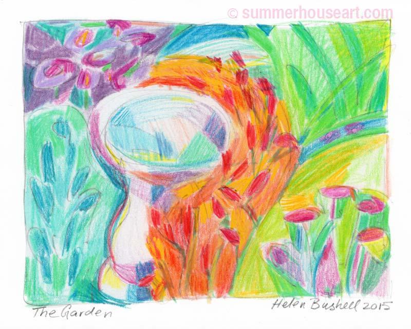 Bird Bath drawing, Helen Bushell, summerhouseart.com