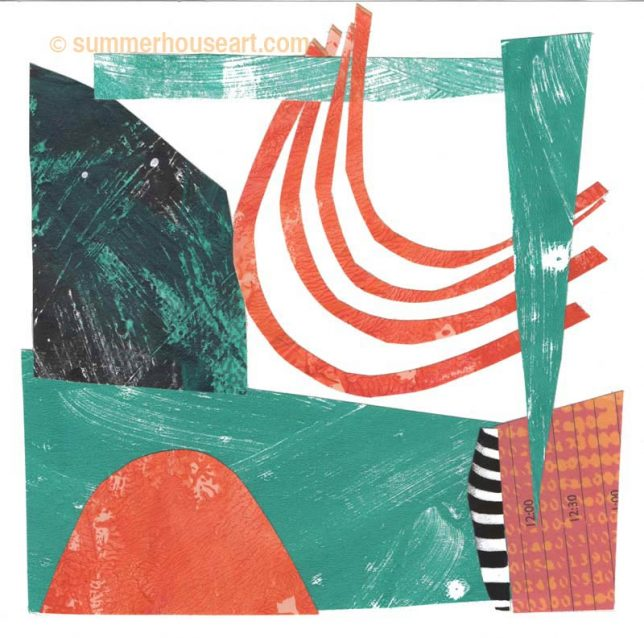 """Beachy"" paper collage by Helen Bushell, summerhouseart.com"