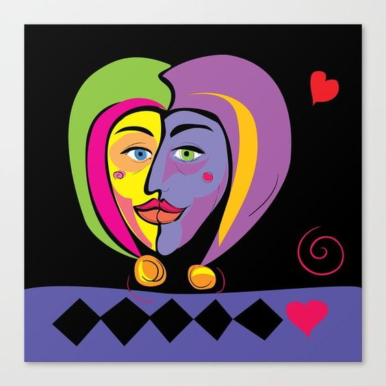 Jesters Valentine print, by summerhouseart.com on Society 6