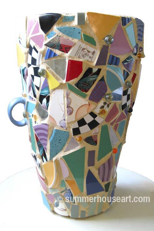 Mosaic Umbrella Stand, Helen Bushell, summerhouseart.com