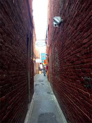 Fan Tan Alley entrance from Pandora Street, Victoria BC, photo summerhouseart.com