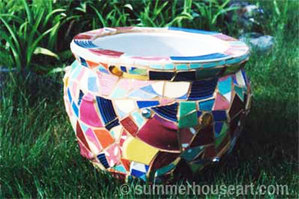 Mosaic Pot by Helen Bushell, summerhouseart.com