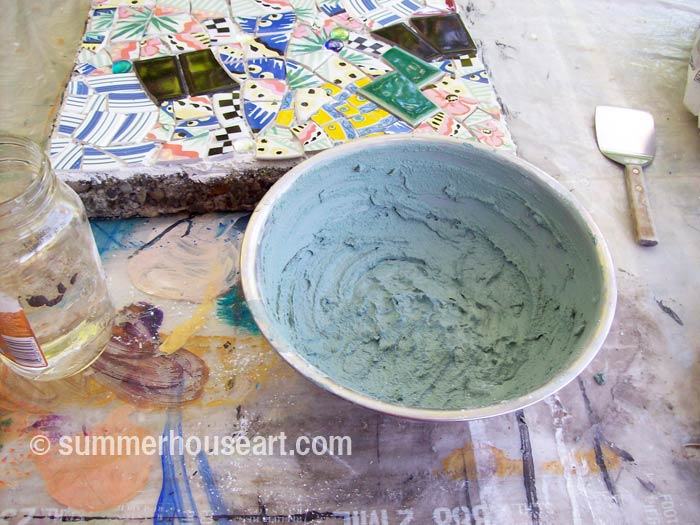 Process, Mosaic Stepping Stone Tutorial, summerhouseart.com