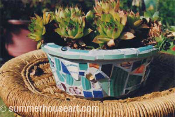 Pique assiette Mosaic Pot by Helen Bushell, summerhouseart.com