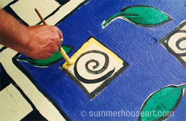 How to paint a rug on Deck floor tutorial, Helen Bushell, summerhouseart.com