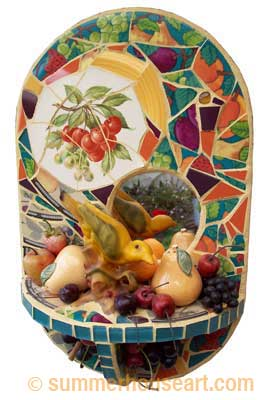 Bird and Fruits mosaic, Helen Bushell, summerhouseart.com