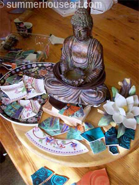 detail, progress, Buddha Shrine by Helen Bushell, summerhouseart.com