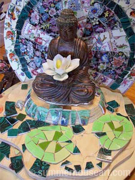 detail, progress, Buddha Shrine by Helen Bushell, summerhouseart.com