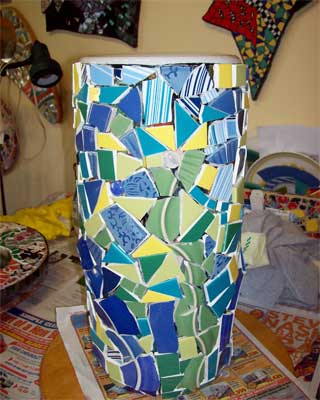 Glenna's umbrella stand before grouting